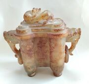 5 Antique Chinese Hatian Jade Double Eared Double Ring Incense Burner Mongoose