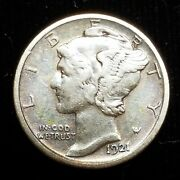 1921-d Mercury Dime Rare Date ☆☆ F-vf Lightly Cleaned ☆☆