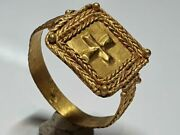 Medieval -holy Land Gold Ring With Cross 10th -12th Century Ad.