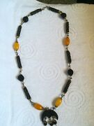 Collier Vintage Natural Ambergris Whale And Amber Bakelite