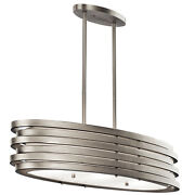 Kichler 43303 Nickel Roswell 3-bulb Indoor Chandelier With Oval Metal Shade