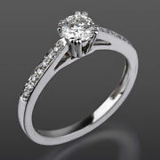 Diamond Solitaire And Accents Ring 1.25 Carat 14 Karat White Gold Si1 D Colorless