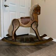 Vintage 1980's Heavy Solid Wood Leather Seat Rocking Horse 43 X 36