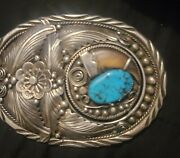 Rare Vintage Sterling Silver Navajo Belt Buckle With Bear Claw And Turquoise