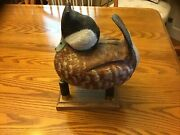Vintage Full Size Cork Ruddy Duck Decoy By Dick Wolfe S/d 1985. Mint Condition.