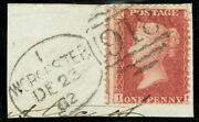 1862 1d Rose-red Sg40 Worcester 2nd Recut Spoon Code I On Piece Fine Used