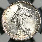 1917 Ngc Ms 66 France 1 Franc Sower Mint State Wwi Silver Paris Coin 21062003c