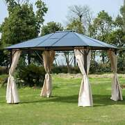 Outsunny Outdoor Steel Hardtop Party Gazebo Tent Canopy Brown 10 X 12