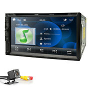 7 Double 2din In Dash Radio Car Stereo Dvd Player Aux Bt Mic +sony Cd Lens +cam