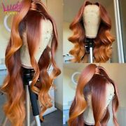 Ombre Ginger Colored Wig Brazilian Loose Deep Wave Wig Lace Front Human Hair Wig