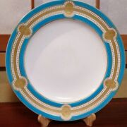 Rare Antique Minton English Fine China Turquoise Gold Lidded 26cm Dinner Plate