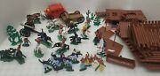 Vintage 1960's Fort Toy Set Colorful Cowboy And Indian Native American Toys