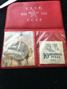 1965-1975 Russia Ussr - Proof Like Two Roubles Set In Red Wallet