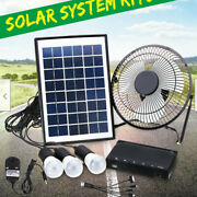 Solar Power Panel Usb Charging Led Light + Fan Dc System Kit For Outdoor Camping