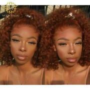 Ginger Orange Deep Wave Wig Full Lace Front Human Hair Wigs Curly Short Lace Wig