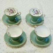 Aynsley Vintage Cup And Saucer Emerald Green 4 Set Violets Edge Of Gold Bone China