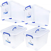 Plastic Storage Bins With Lids And Wheels - For Toys Shoes Tools Clothes Bedding