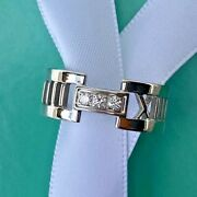 And Co. Altas Roman Numeral Band With Diamonds, 18k White Gold