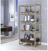 Acme Furniture Wendral Bookshelf In Gold And Clear Glass