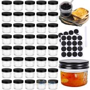 40pack 4 Oz Wide Mouth Glass Jars With Metal Airtight Lids And Labels And Marker Pen