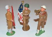 Vintage Lot Of 3 Pieces - Barclay Manoil Metal Lead Toy Soldiers - Antique
