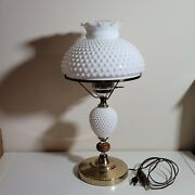 Vintage 22 Tall Milk Glass Hobnail Hurricane Lamp It Works All 3 Pieces
