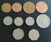 Isle Of Man 1-2-5-10-20 Pence 1976-1998 Lot 10 Different Coins