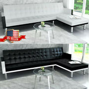L-shaped Chaise Lounge Leather Sectional Sofa Living Room Couch Bed Set 2 Color