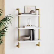 Theo 39 In. Brass Gold And White Wood 3-shelf Floating Shelves Wall Mount Accent