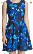 Dkny Womenand039s Dress Floral-print Black Size 14 A-line Flare Seamed 119