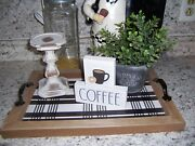 Coffee Sign Cup Farmhouse Style Kitchen Bar Tray Home Decor
