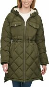 Leviand039s Womenand039s Soft Sherpa Lined Diamond Quilted Long Parka Jacket Standard...