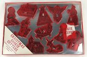 Vintage Red Plastic Fortress Christmas Cookie Cutters Nos 12 Pc Manger Scene