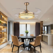 42 Modern Bluetooth Invisible Ceiling Fan Lamp Led Chandelier Dimmable W/remote