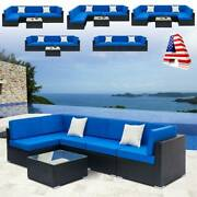 4-7 Pcs Patio Rattan Wicker Sofa Sectional Set Outdoor Cushioned Furniture Lawn