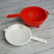 Tupperware New Double Colander Strainer Red White