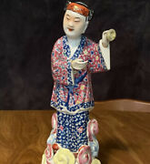 Antique Early 1900s Chinese Hand Painted Porcelain Figurine