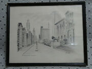 Vintage Drawing On Paper .michigan Avenue Chicago.ill Signed