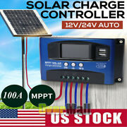 Mppt Solar Charge Controller Solar Panel Battery Regulator 12/24v Auto 100a Lcd