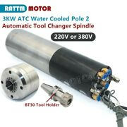 3kw Atc Automatic Tool Change Water Cooled Spindle Motor 100mm Bt30 380v / 220v