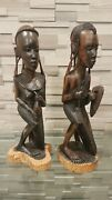Handmade Hand Carved Wooden Figurines 17 Man With Shield Woman With Jar African