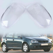 For Volkswagen Golf 5 2005-2009 Pair Headlight Lamp Lens Covers Clear Left Right