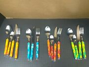 23 Pc Disney China Mickey Mouse Silverware Flatware Stripes Knives Forks Spoons