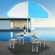 Outdoor Patio Table And Chairs Set Garden Metal Table Furniture W/ Umbrella Hole