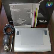Wacom Intuos 3 Ptz-630 Pen Tablet Crystal Silver Model With Mouse Used