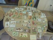 Estate Lot Of 52 Antique Trade Cards Victorian Santa Holiday Cats Kids