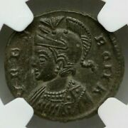 Ngc Ms Roman Coin / Nummus Romulus And Remus And She-wolf 340ad From Epfig Hoard