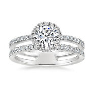Solid 950 Platinum 1.40 Carat Real Round Diamond Ring Wedding All Size Available
