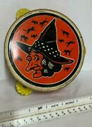 Vintage Halloween Metal Tambourine Witch Themed