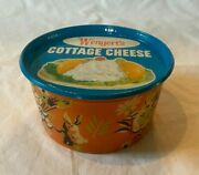 Vintage Wengert's Dairy Cottage Cheese Cardboard Container W Metal Lid Easter